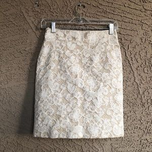 BANANA REPUBLIC Ivory Lace Overlay Pencil Skirt